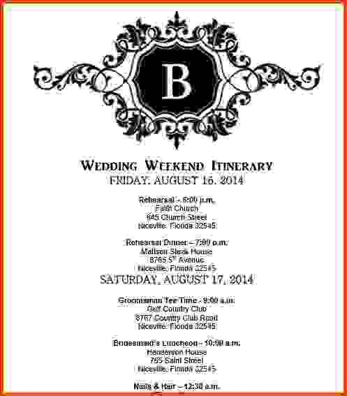 Wedding Itinerary Template.Wedding Itinerary Template Free ...
