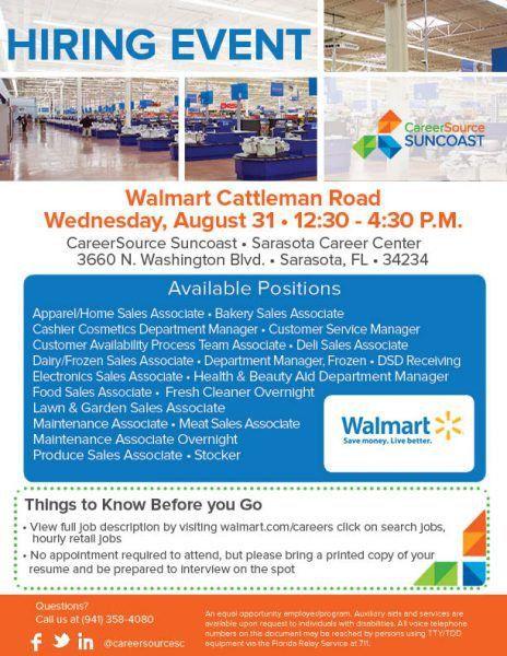 Hiring Event - Walmart Cattleman Road - CareerSource Suncoast