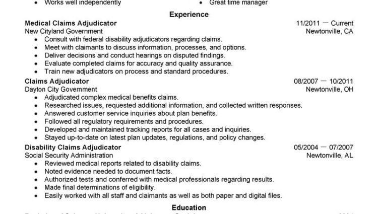Medical Claims Resume Examples. Adjudicator Cover Letter claims ...