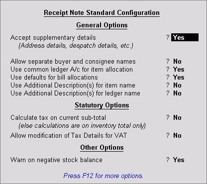 Receipt Note Voucher (GRN) in Tally ERP 9 - Tally ERP9 Tutorials
