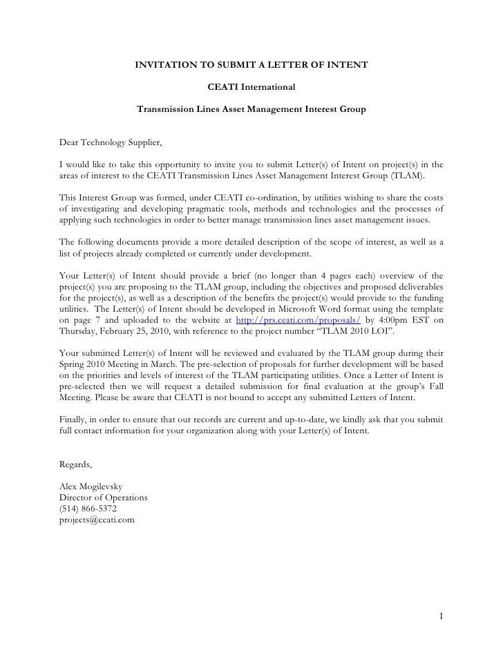 Download the Invitation to Submit a Letter of Intent (TLAM)