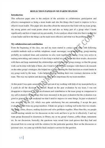 Sample Reflective Essay #1 Author: Prefers to remain anonymous