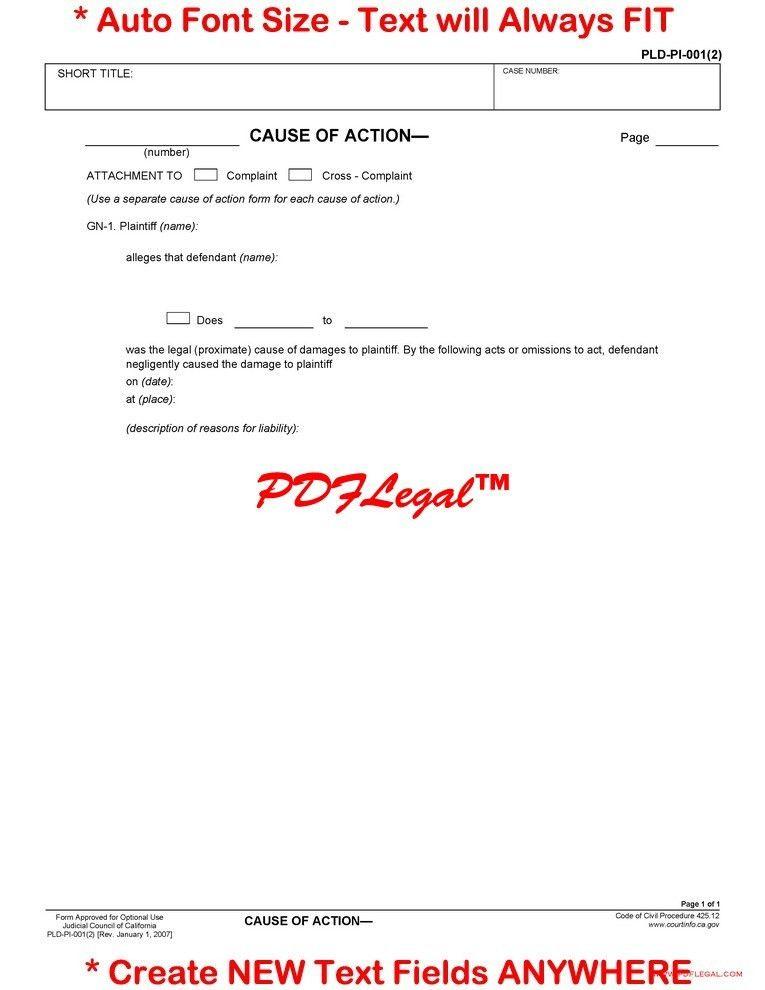 Pleadings - Personal Injury - California Judicial Council Forms ...