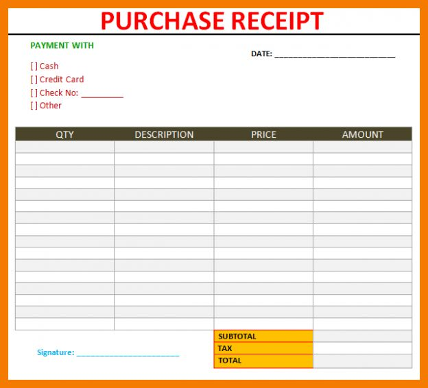 5+ purchase receipt template | resume holder