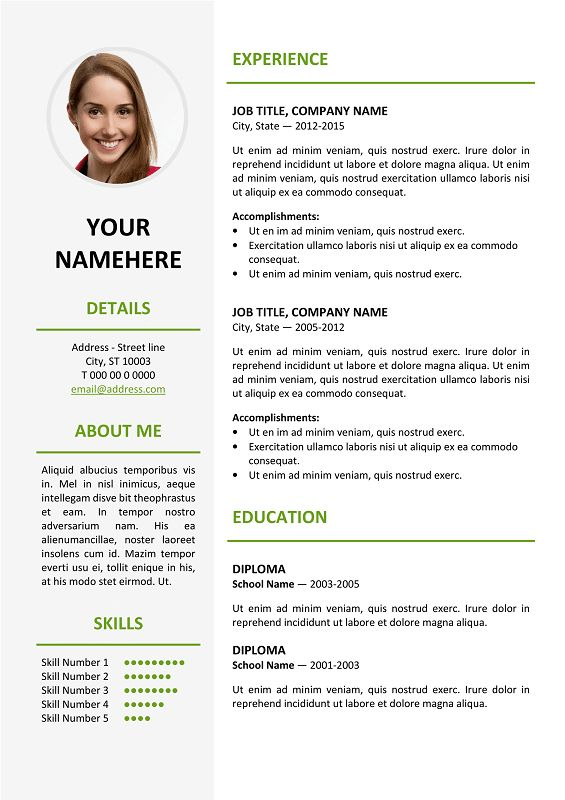 Ikebukuro Free Elegant Resume Template Green for MS Word | Classic ...