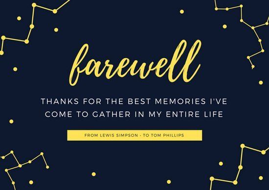 Dark Blue and Yellow Constellation Farewell Card - Templates by Canva
