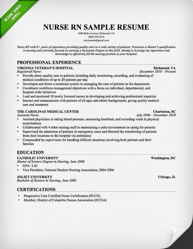 Nurse RN Resume Sample | Download this resume sample to use as a ...