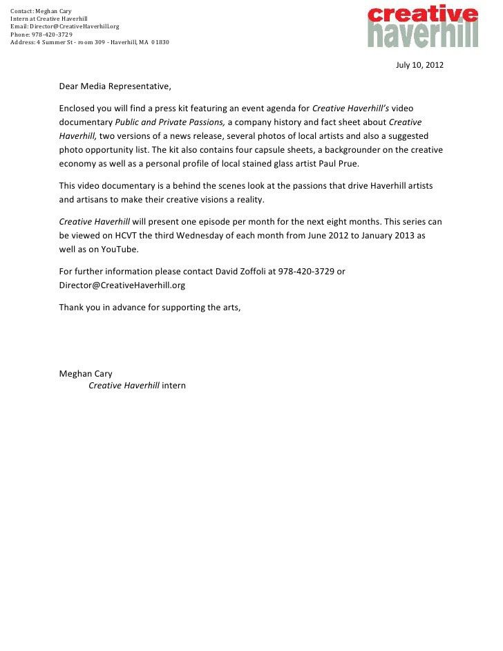 2. cover letter to media