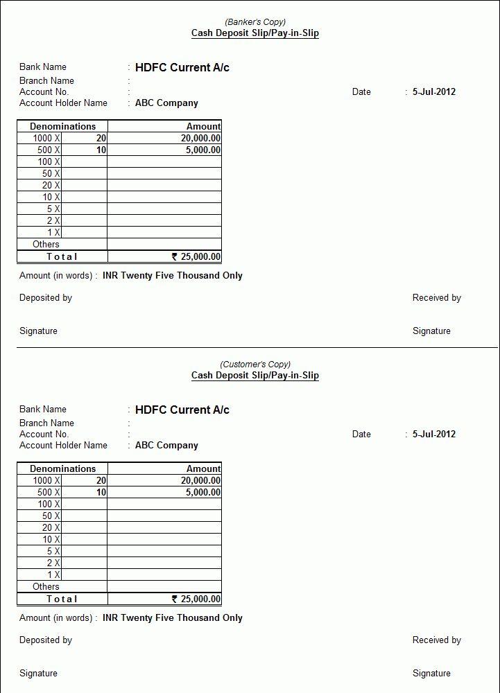 Printing Cash Deposit Slips in Tally.ERP 9