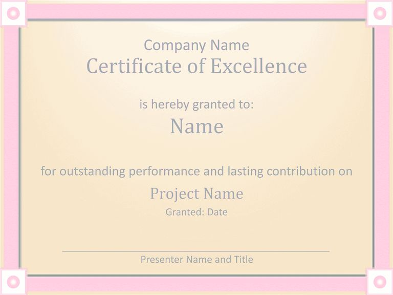 Employee Award Certificate Of Excellence Template Employee