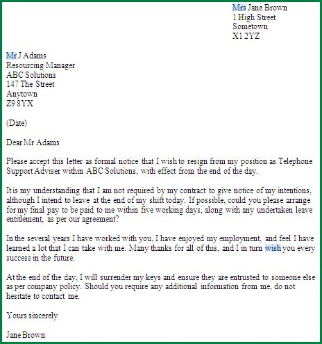 11 Resignation Letter Sample with Notice Period ...