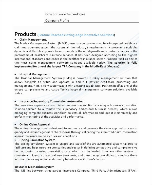 Sample Company Profile - 7+ Documents in Word, PDF