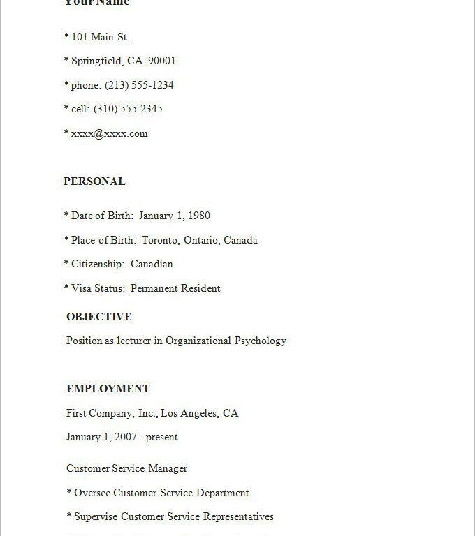 Simple Resume Examples - Resume CV Cover Letter