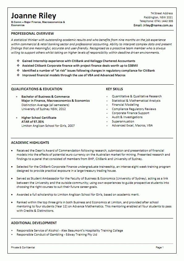 Resume Template Australia Graduate - Augustais