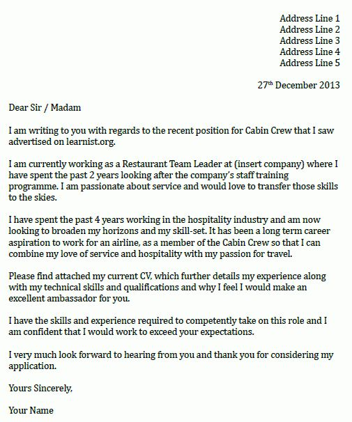 Cabin Crew Cover Letter Example - icover.org.uk