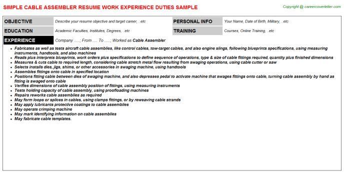 Cable Assembler Resume Sample