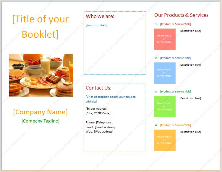 Booklet Template (With Three Columns) - Dotxes