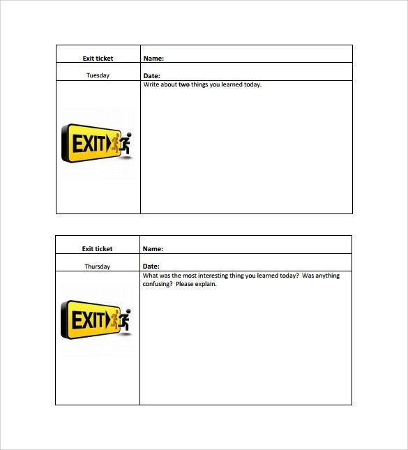 Exit Ticket Template - 9+ Download Free Documents in PDF, Word