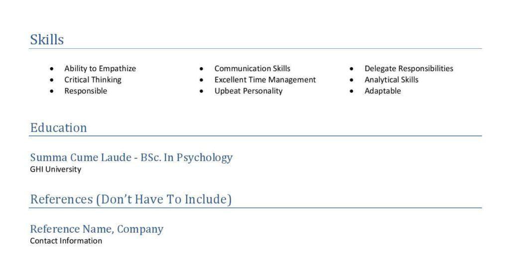Standard Resume Format for Job Application | LilKuya.com