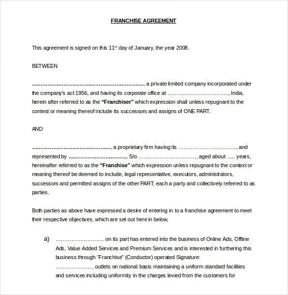 15+ Franchise Agreement Templates – Free Sample, Example, Format ...