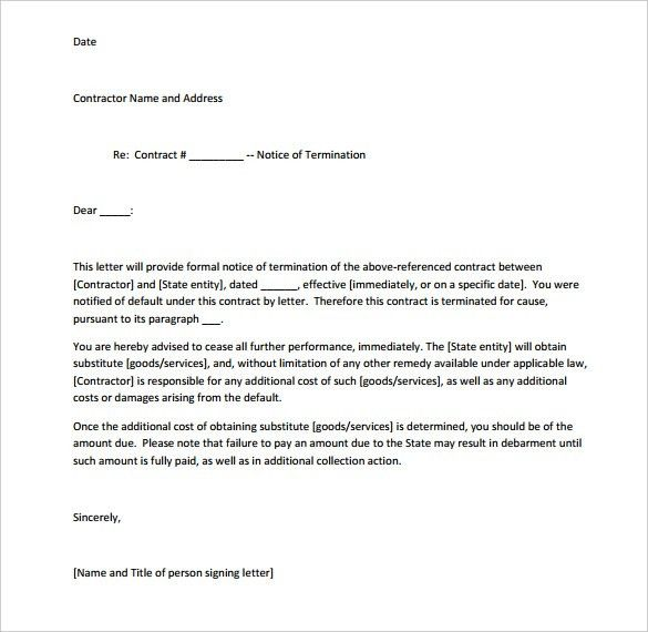 Termination Notice Template. Sample Termination Letter Form ...