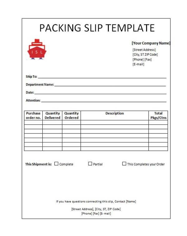 Free Packing Slip Template For MS Office Word And Excel