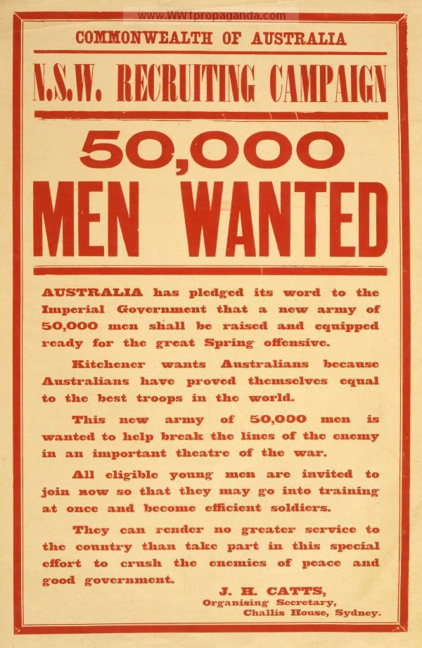 Examples of Propaganda from WW1 | 50,000 men wanted.