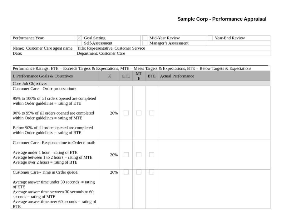 Employee Evaluation Form - Free Sample Employee Performance ...