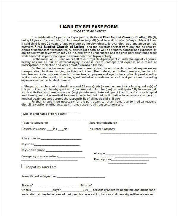 Liability Release Template [Template.billybullock.us ]