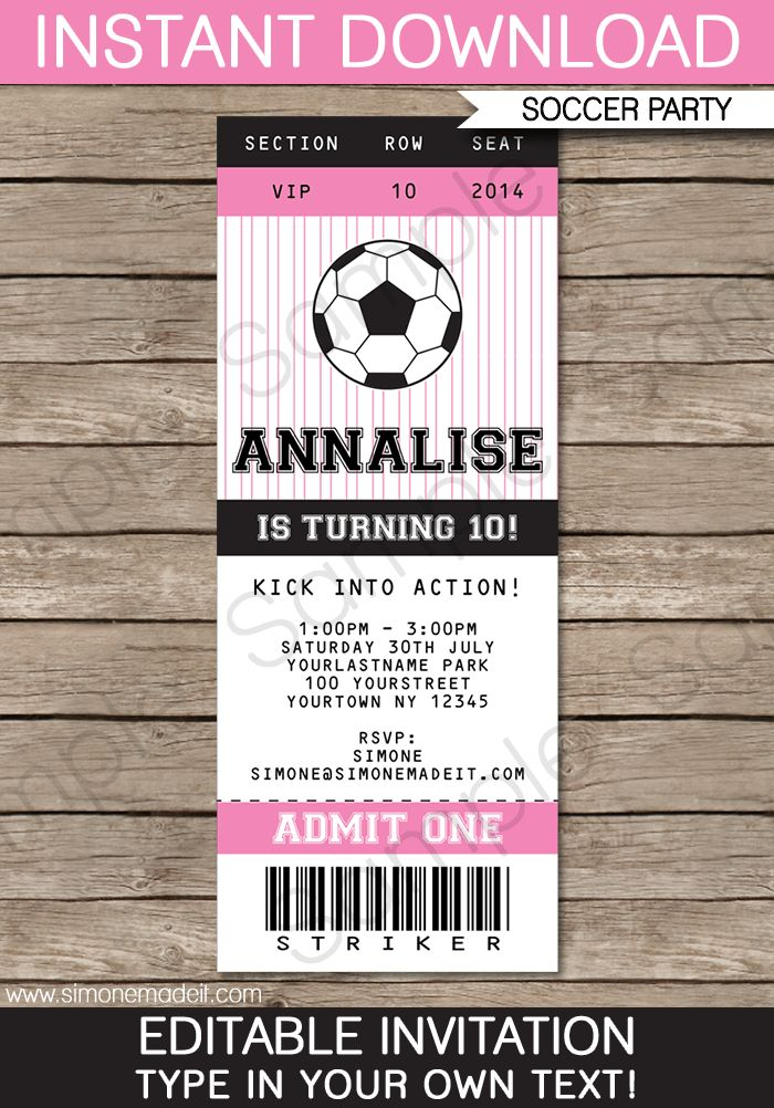 Soccer Ticket Invitations | Birthday Party | Template