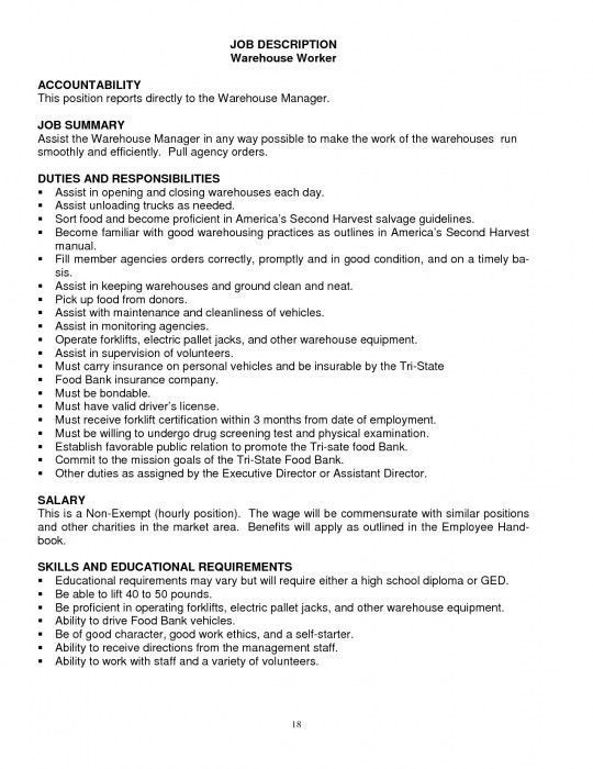Warehouse Job Description. Warehouse Worker Job Description ...
