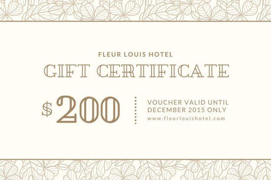Beige Bordered Hotel Gift Certificate - Templates by Canva