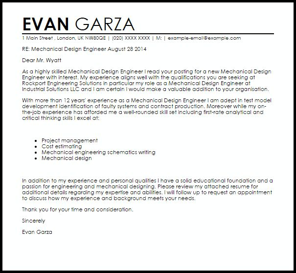 Mechanical Design Engineer Cover Letter Sample | LiveCareer