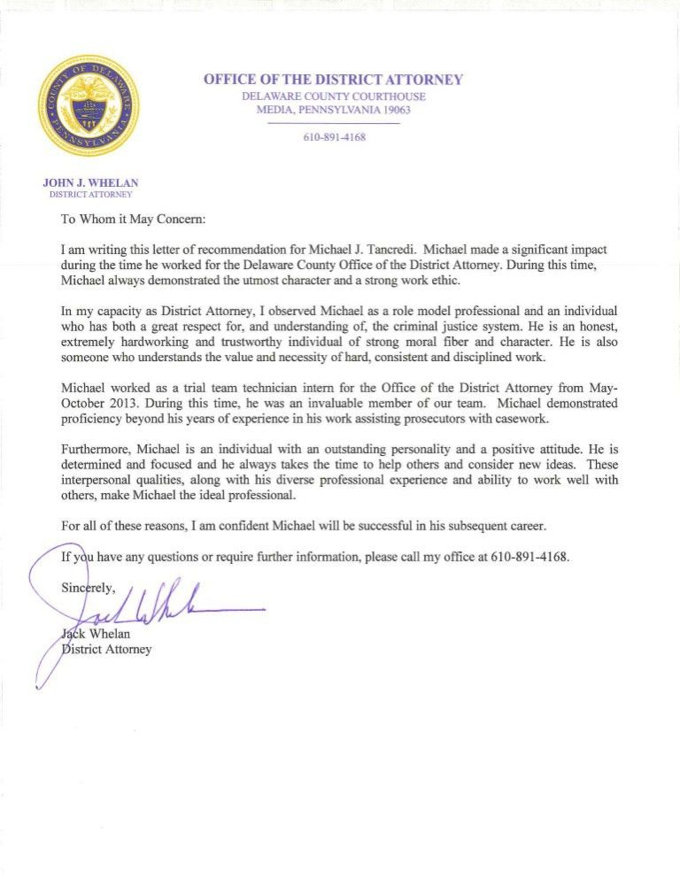 MICHAEL J. TANCREDI - Letter of Recommendation - From Jack Whelan - D…