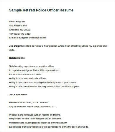 Police Officer Resume - 6+ Free Word Documents Download | Free ...