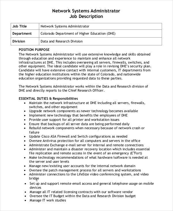 Administrator Job Description Example - 14+ Free Word, PDF ...
