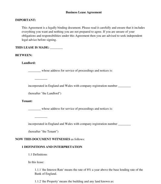 Business Lease Agreement - Template - Word & PDF