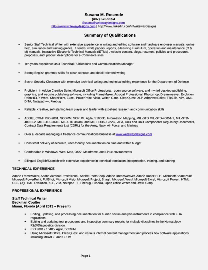 technical writer resume objective download author resume sample