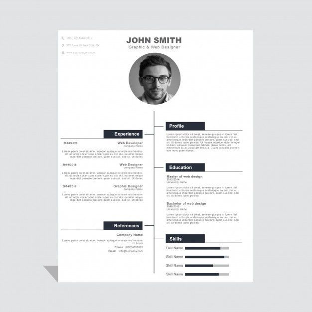 Modern corporate curriculum vitae template Vector | Free Download