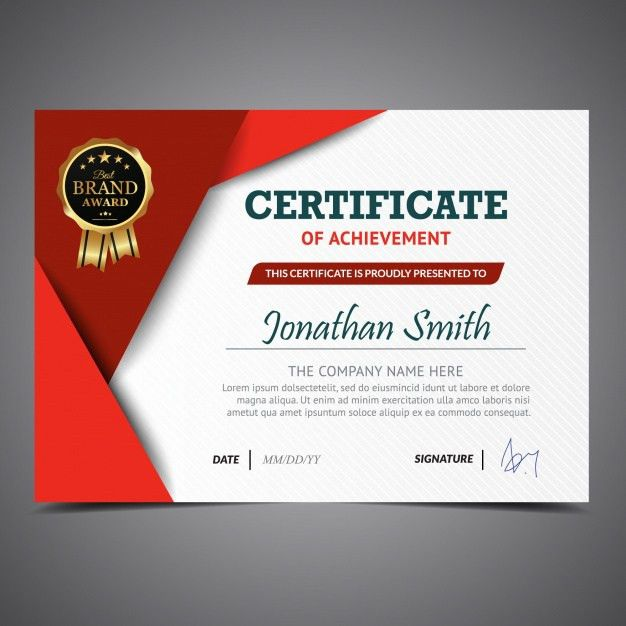 Red and white certificate template Vector | Free Download
