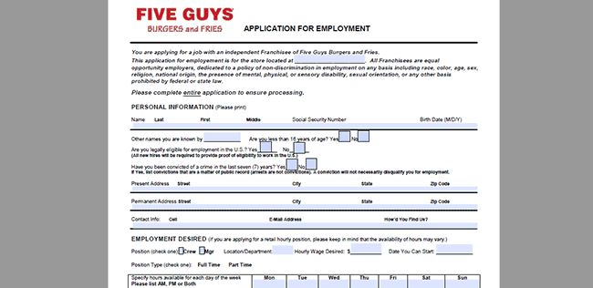 Five Guys Burger and Fries Job Application - Adobe PDF - Apply Online