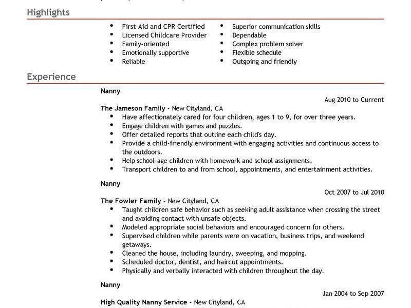 Stunning Idea Nanny Resume Sample 2 Best Nanny Resume Example ...