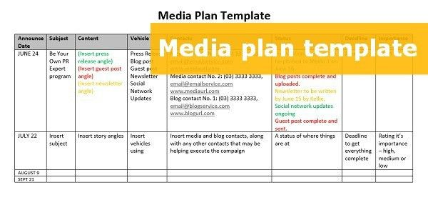 A FREE downloadable media plan template to step up your PR effort ...