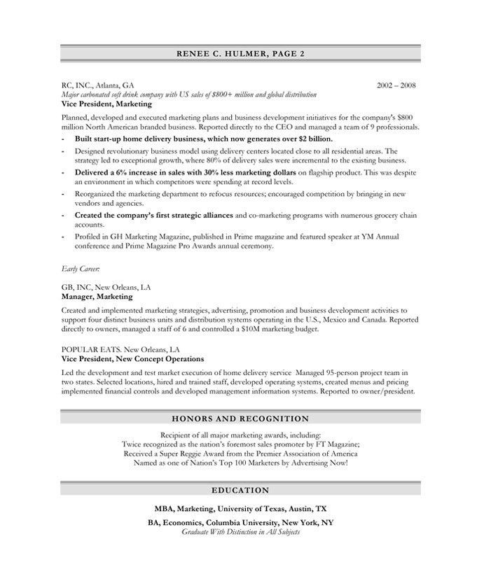 Marketing Executive Resume Samples & Examples
