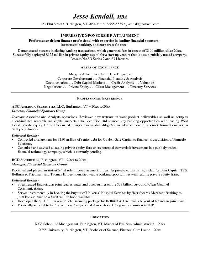 Free Financial Sponsors Resume Example