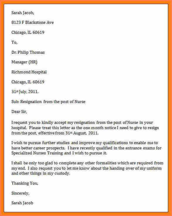 7+ nursing resignation letter samples | Resign Letter Job