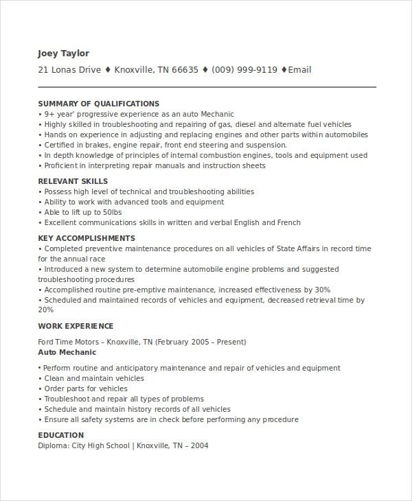 Excellent Design Auto Mechanic Resume 1 Unforgettable Automotive ...
