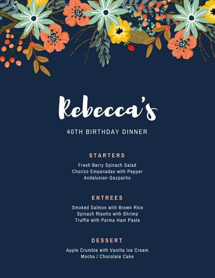 Dark Blue with Floral Vector Dinner Party Menu - Templates by Canva
