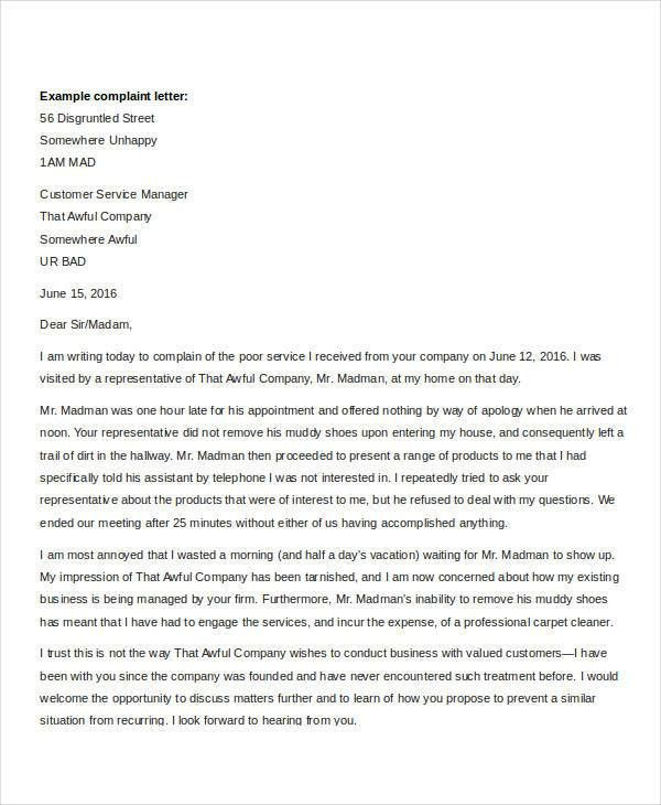 Complaint Letter Templates - 5+ Free Sample, Example Format ...