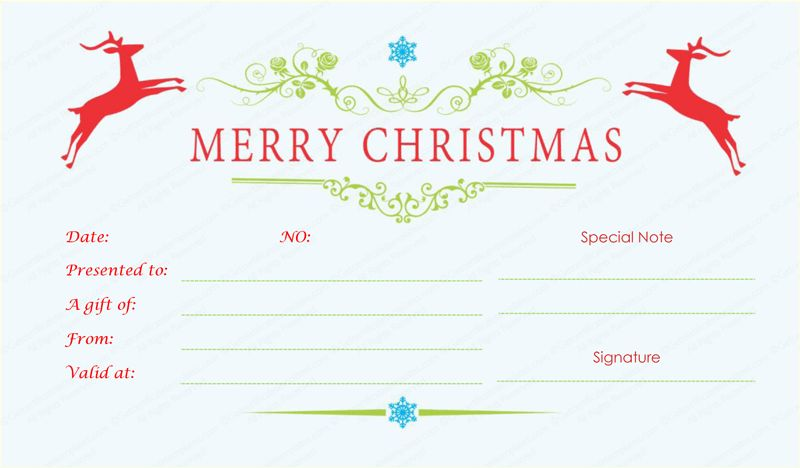Reindeer Christmas Gift Certificate Template